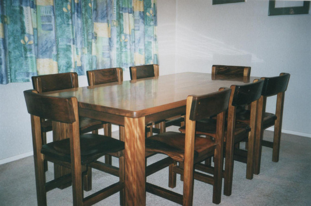 Swamp kauri dining table w/ chairs