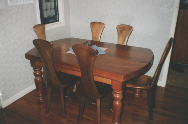 Swamp kauri slab dining table /w chairs